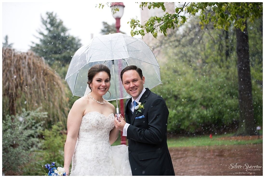 Winter Wedding with clear umbrella - Silver Sparrow Photography